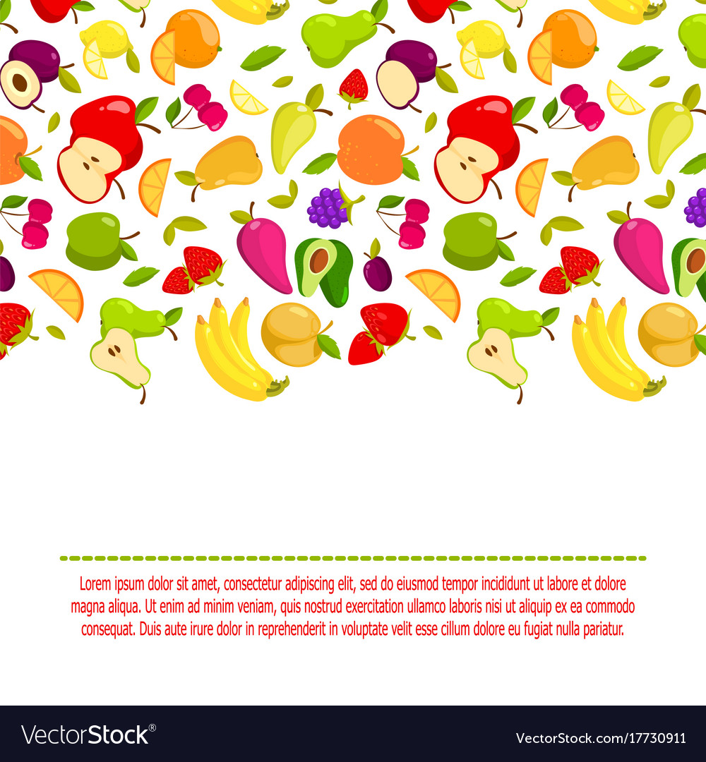 Cartoon fruits background banner with