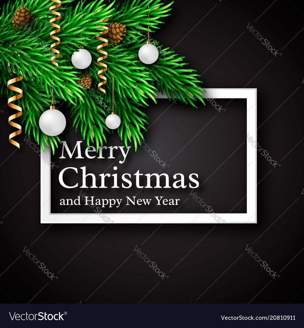 Christmas design realistic white frame and text