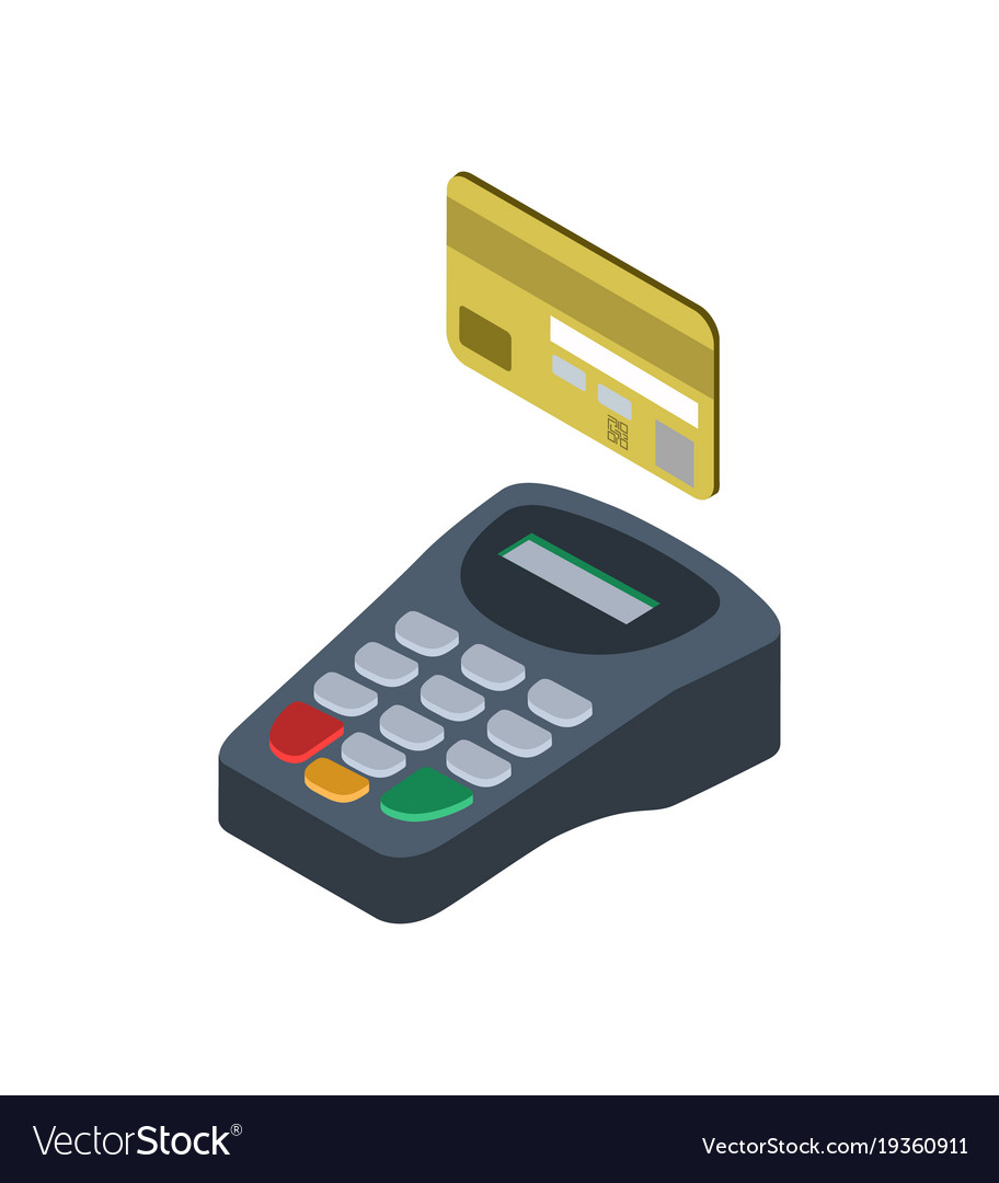 Credit card pos terminal isometric 10d icon