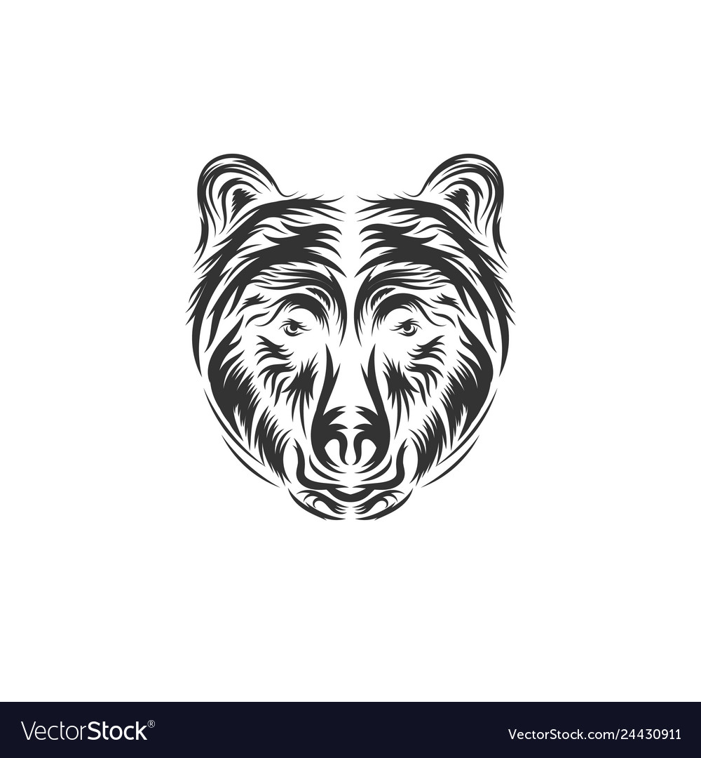 Hand drawn bear head