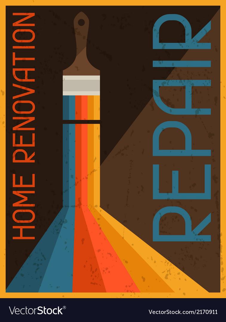 Home renovation repair Retro poster in flat design