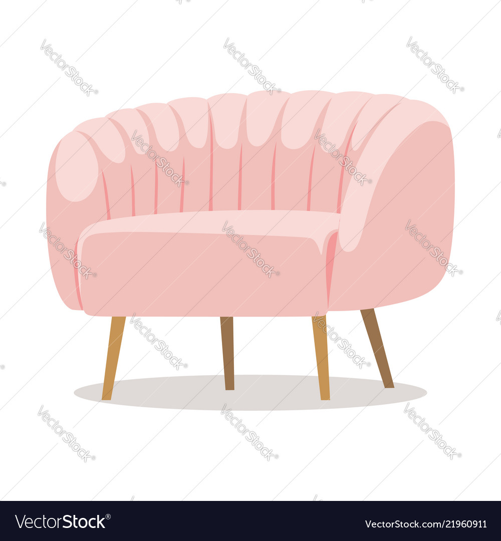 Modern white pink soft armchair with upholstery