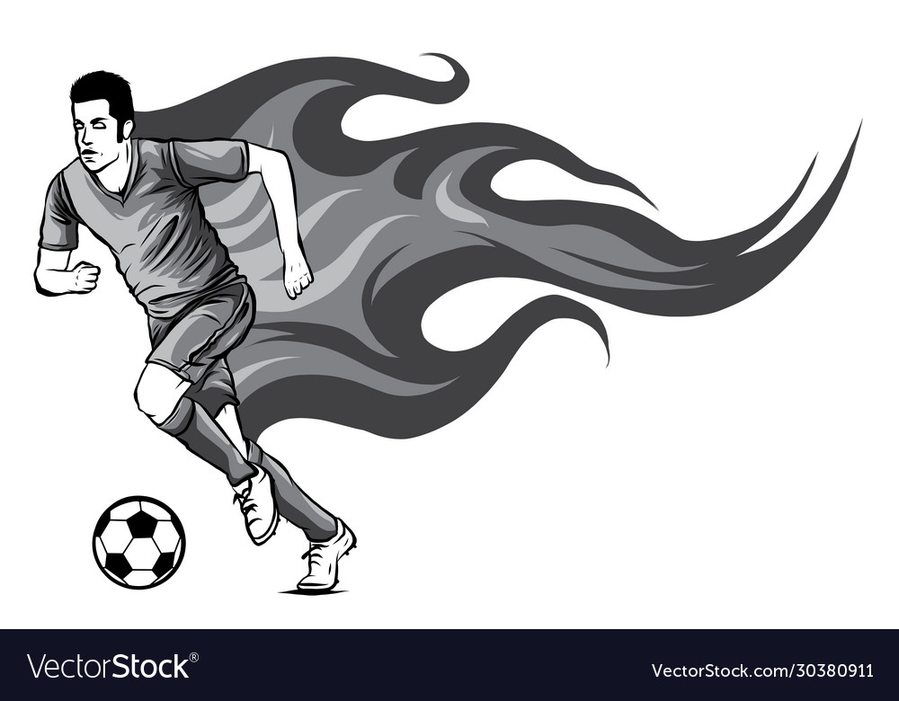 Monochromatic soccer player kicking a ball and has