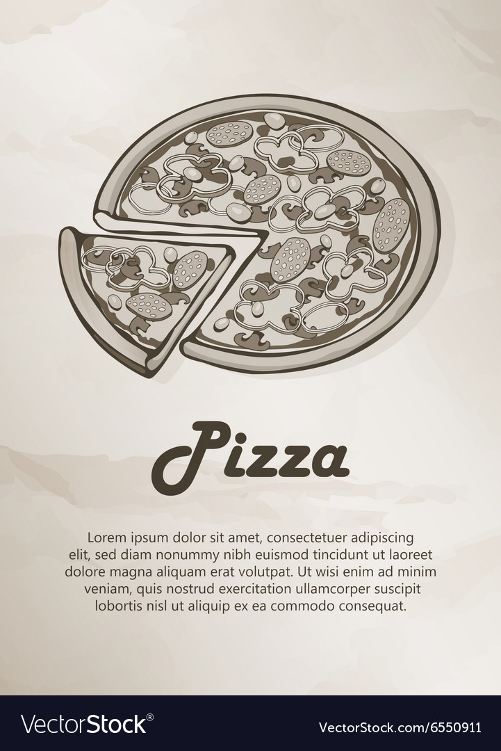 Pizza Vintage Menu Label Logo Frame Brochures