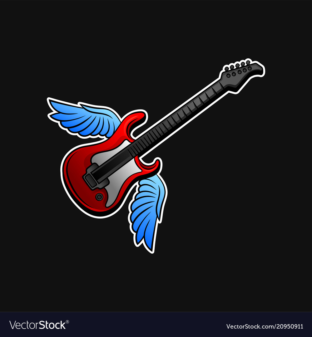 Red electric guitar with blue wings rock n roll