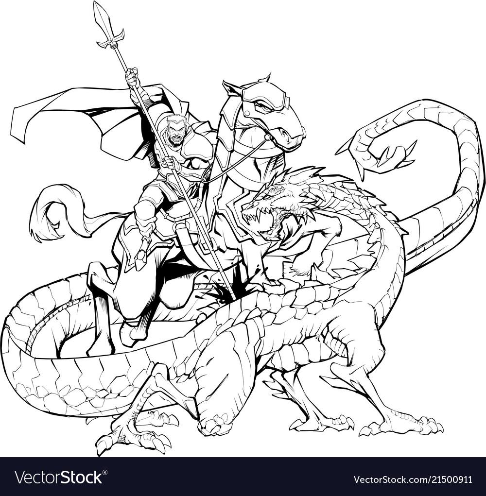Saint george slaying the dragon line art