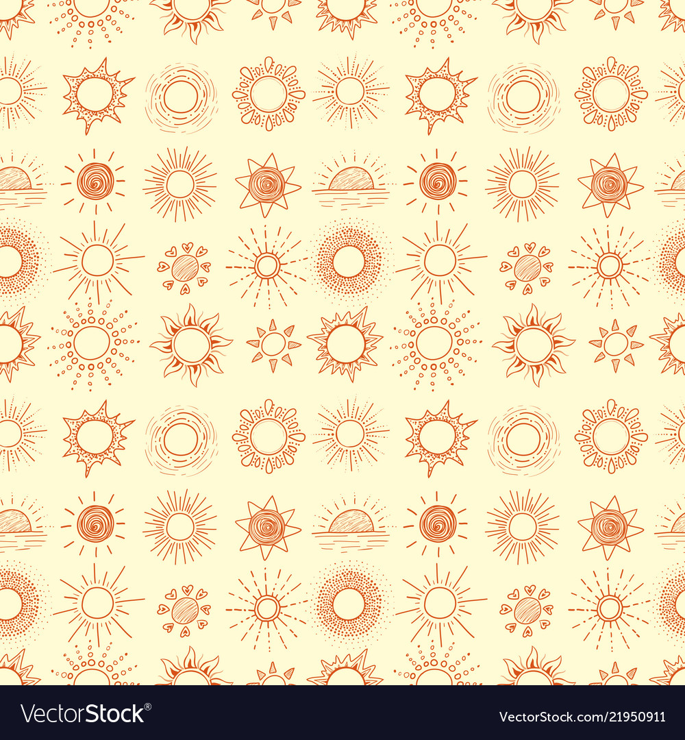 Seamless background with orange doodle sun on