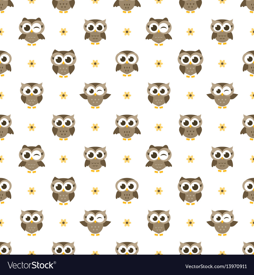 Seamless pattern with brown owls and flowers