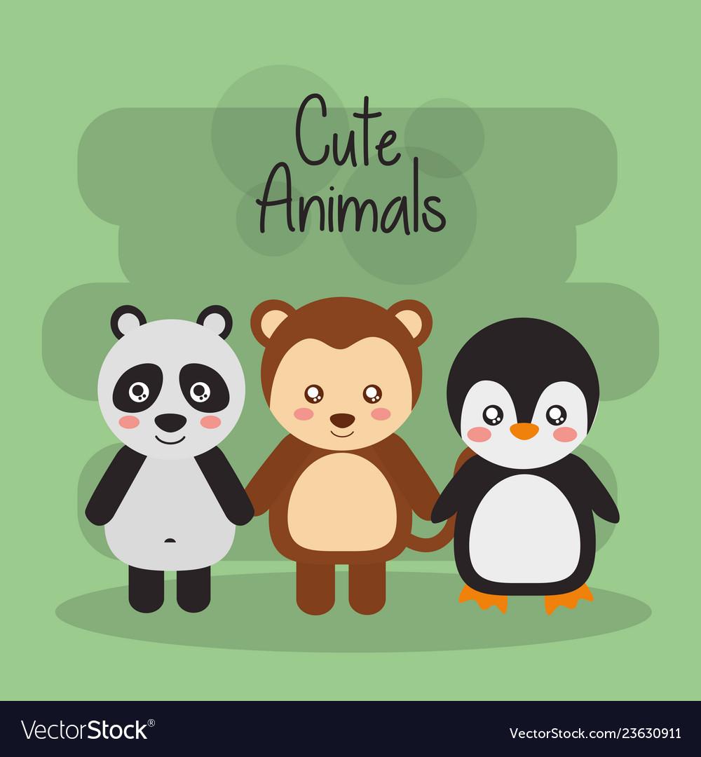Set cute animals panda monkey