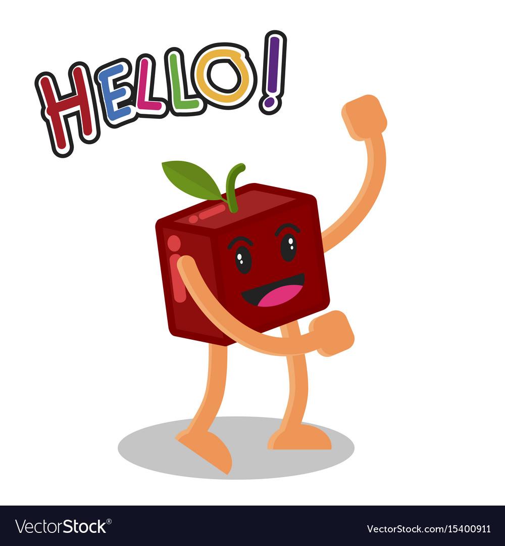 Smiling apple fruit cartoon mascot character