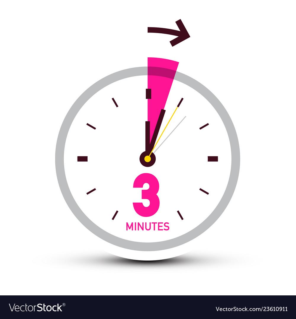 Three 3 minutes clock icon with arrow