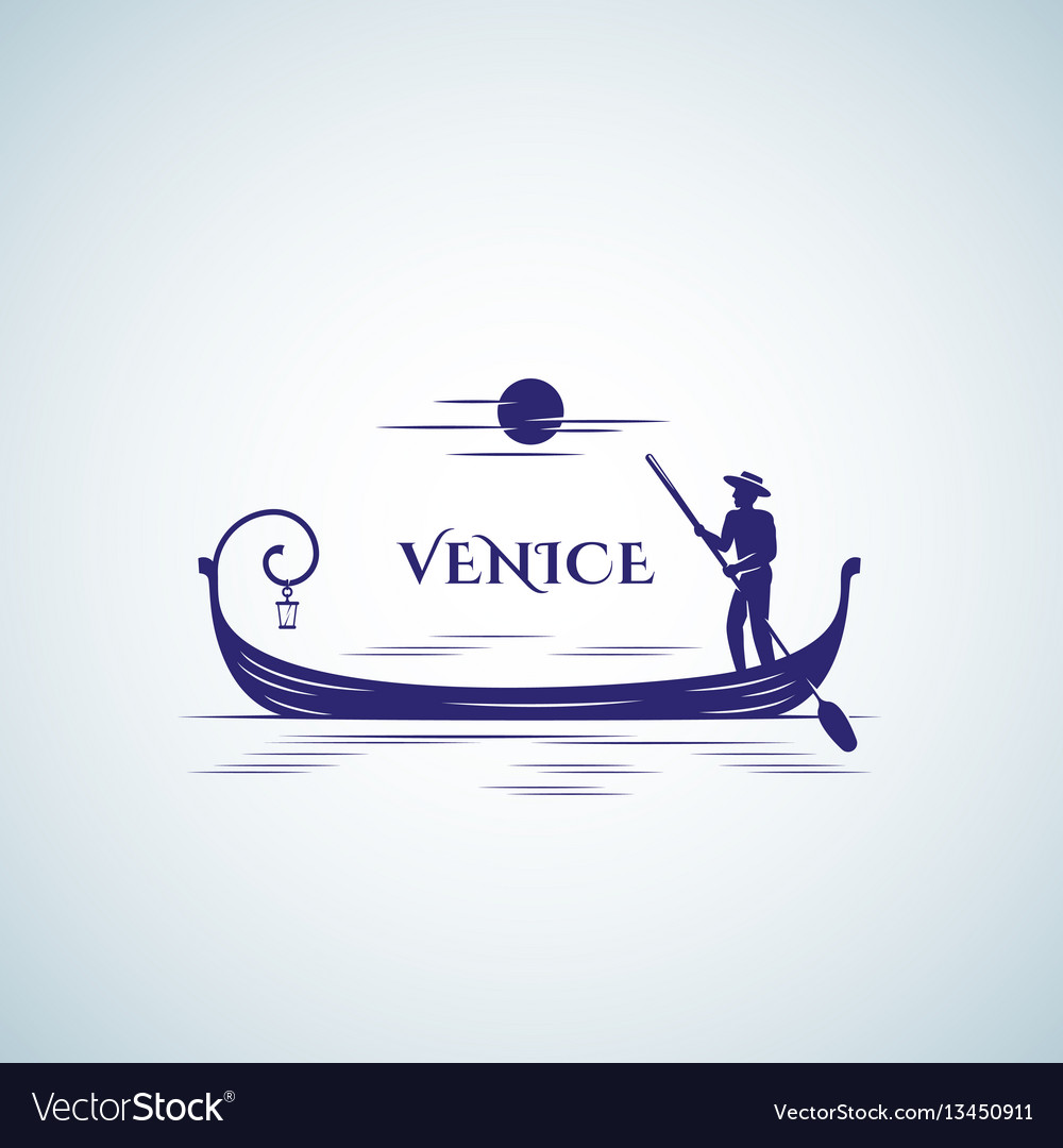 Venice boat abstract sign emblem or logo