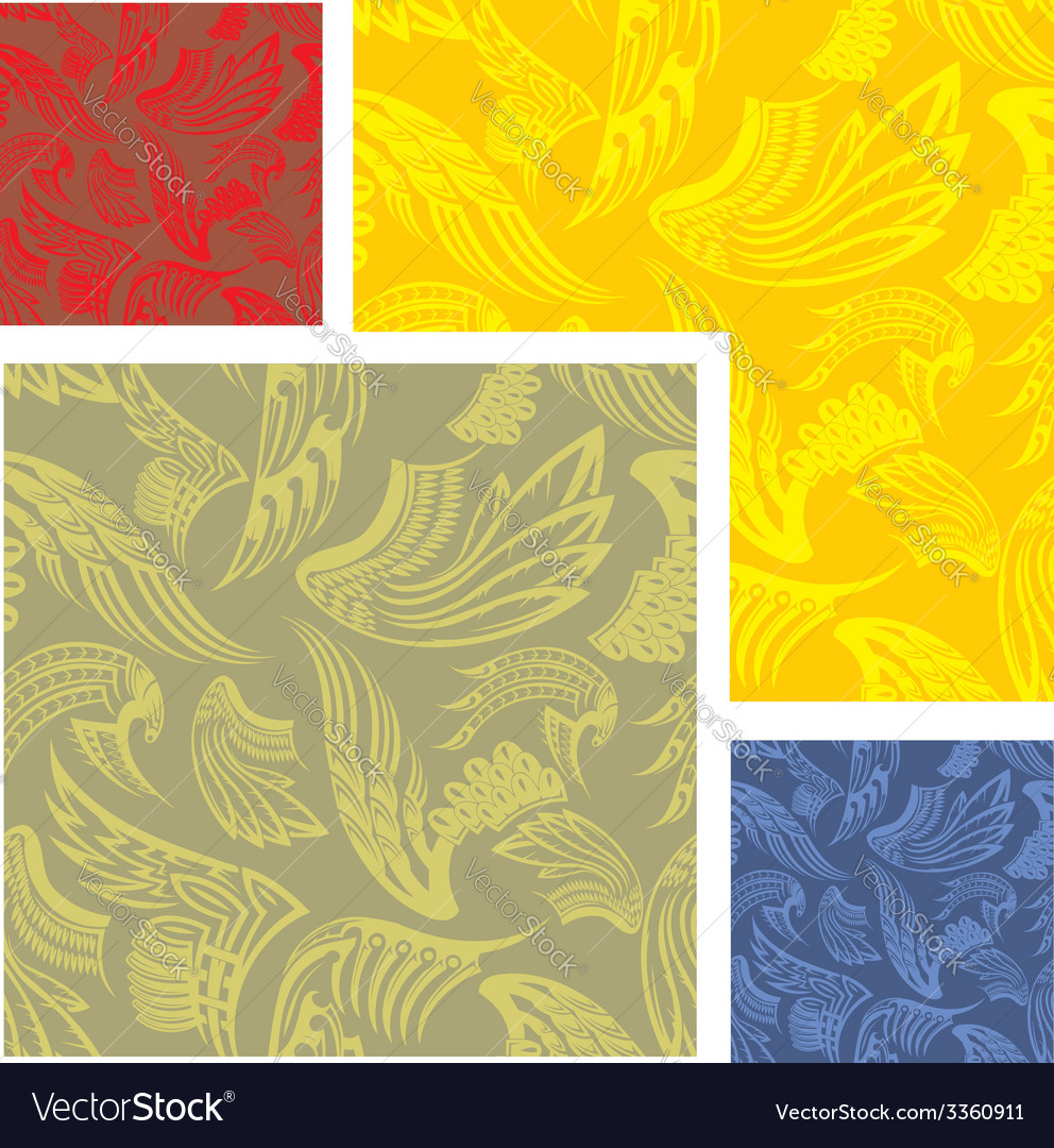 Wings - seamless pattern set