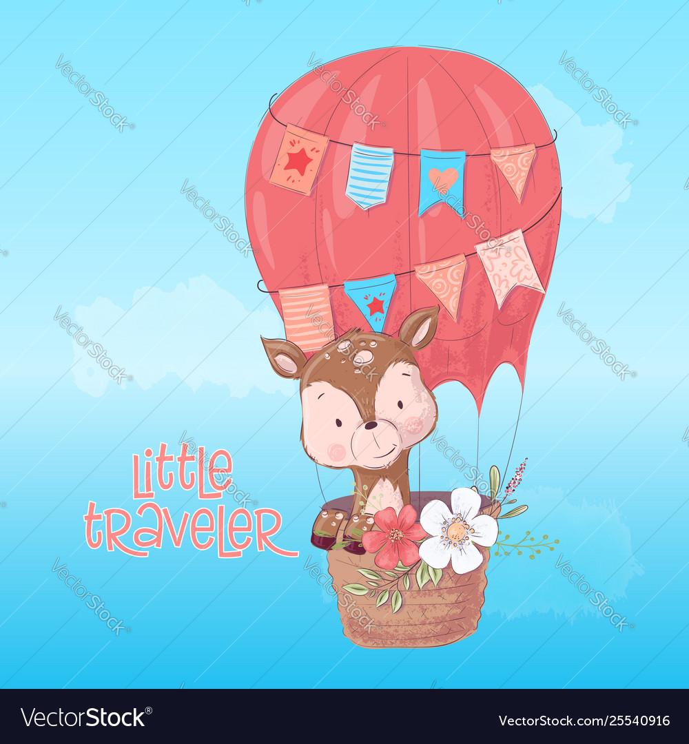A cute deer balloon hand draw