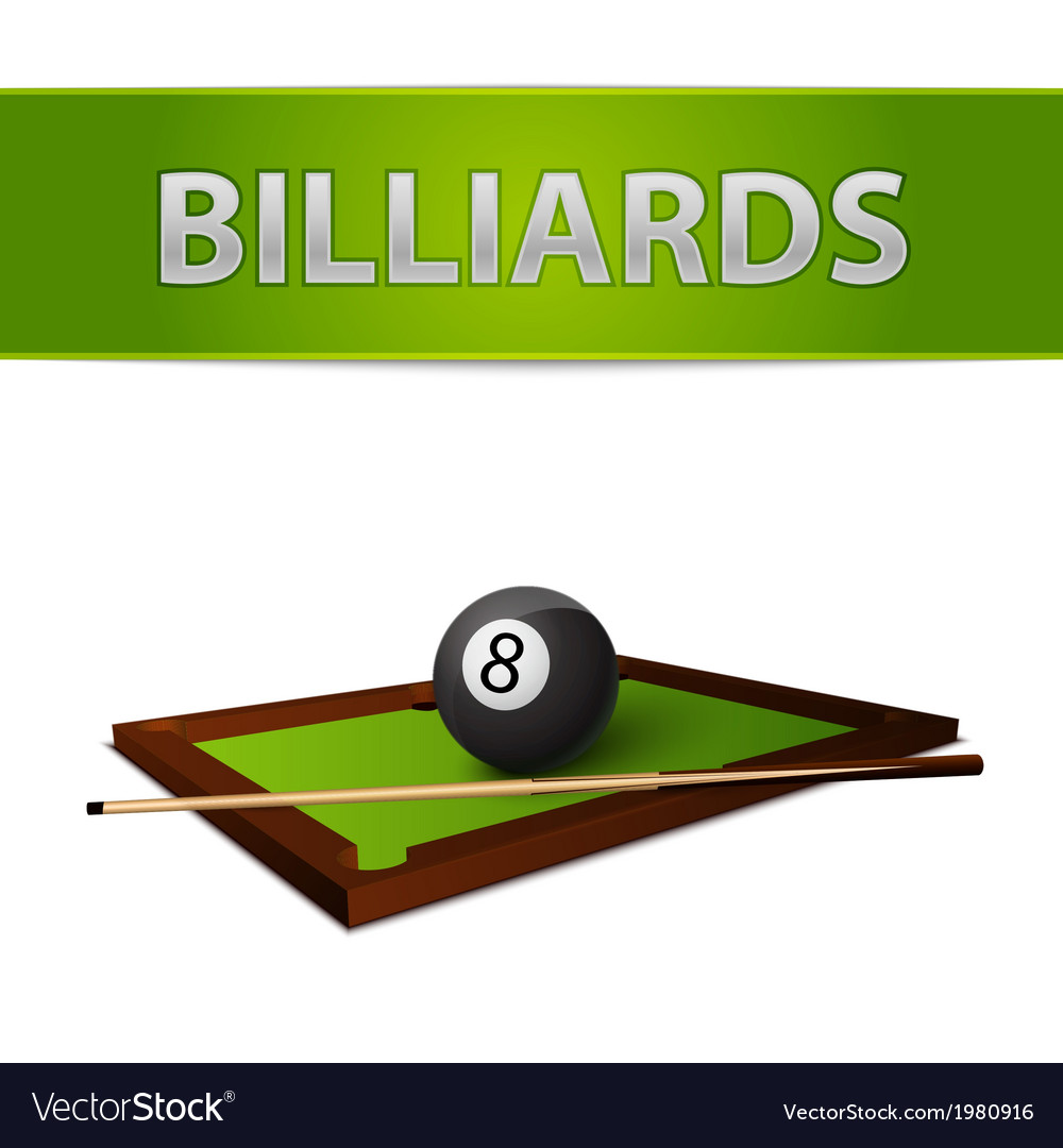Billiards ball with stick on green table emblem vector image