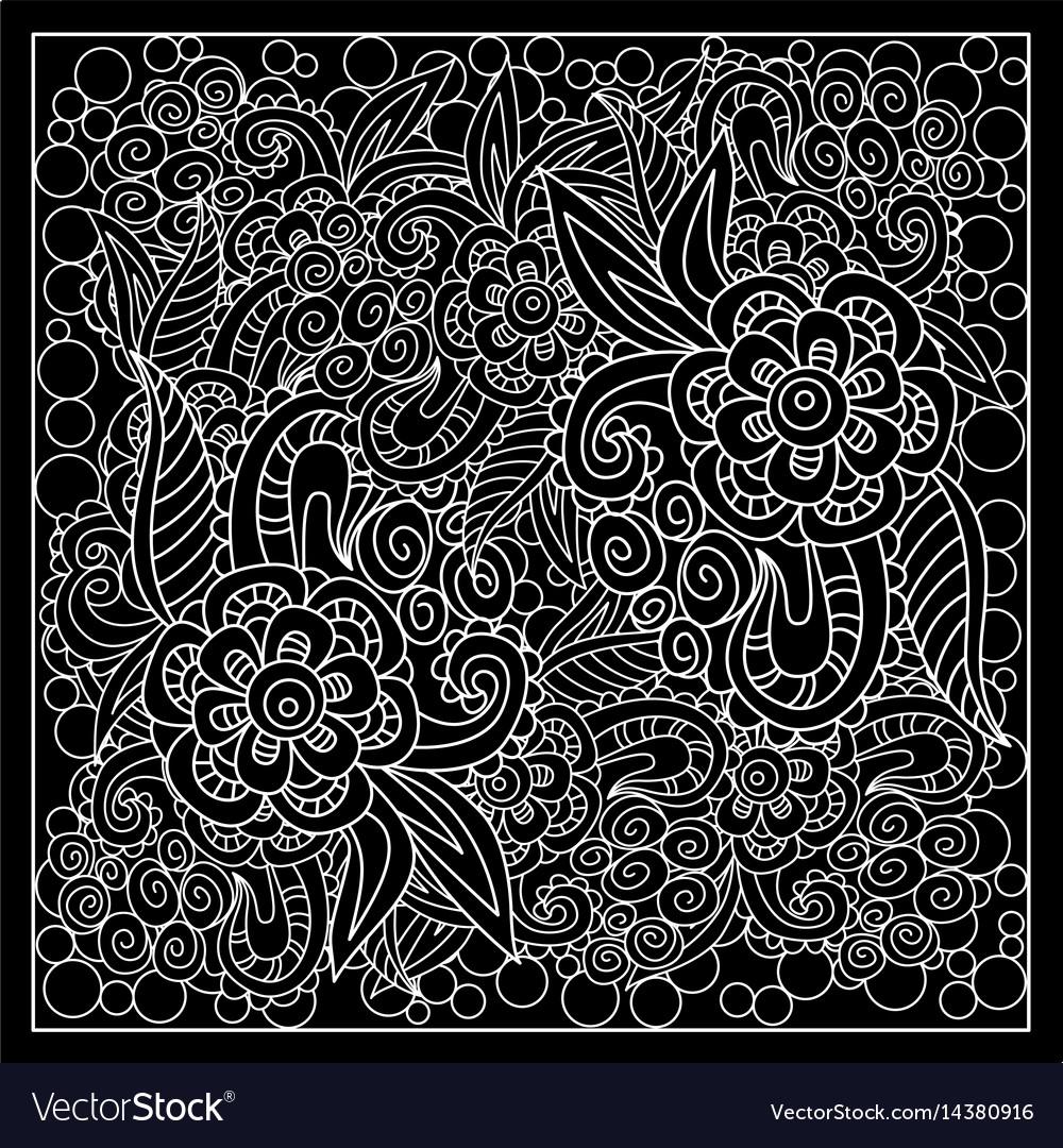 Black And White Bandana Print Royalty Free Vector Image