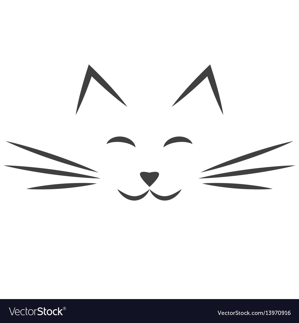 Black cat face icon isolated on white