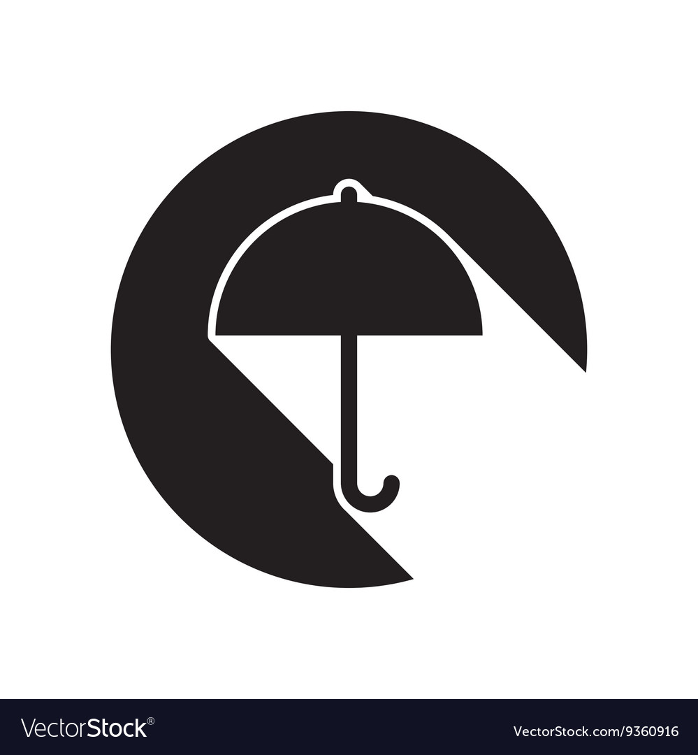 Black icon with umbrella