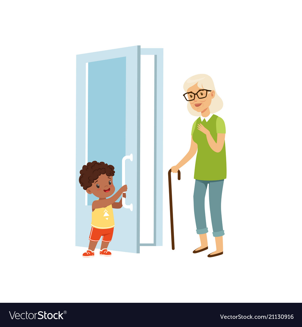 Boy opening the door to an elderly woman kids
