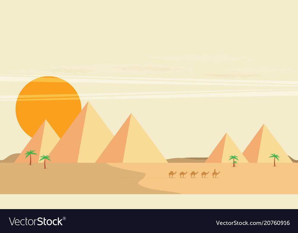 Caravan of camels near egypt pyramids landscape