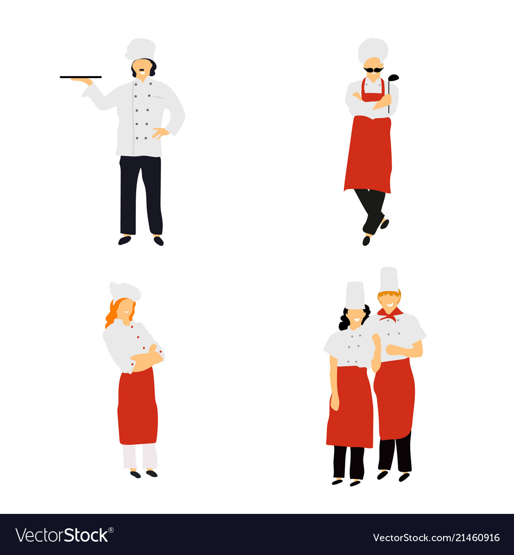 Chefs in restaurant kitchen cooking cute cooks in