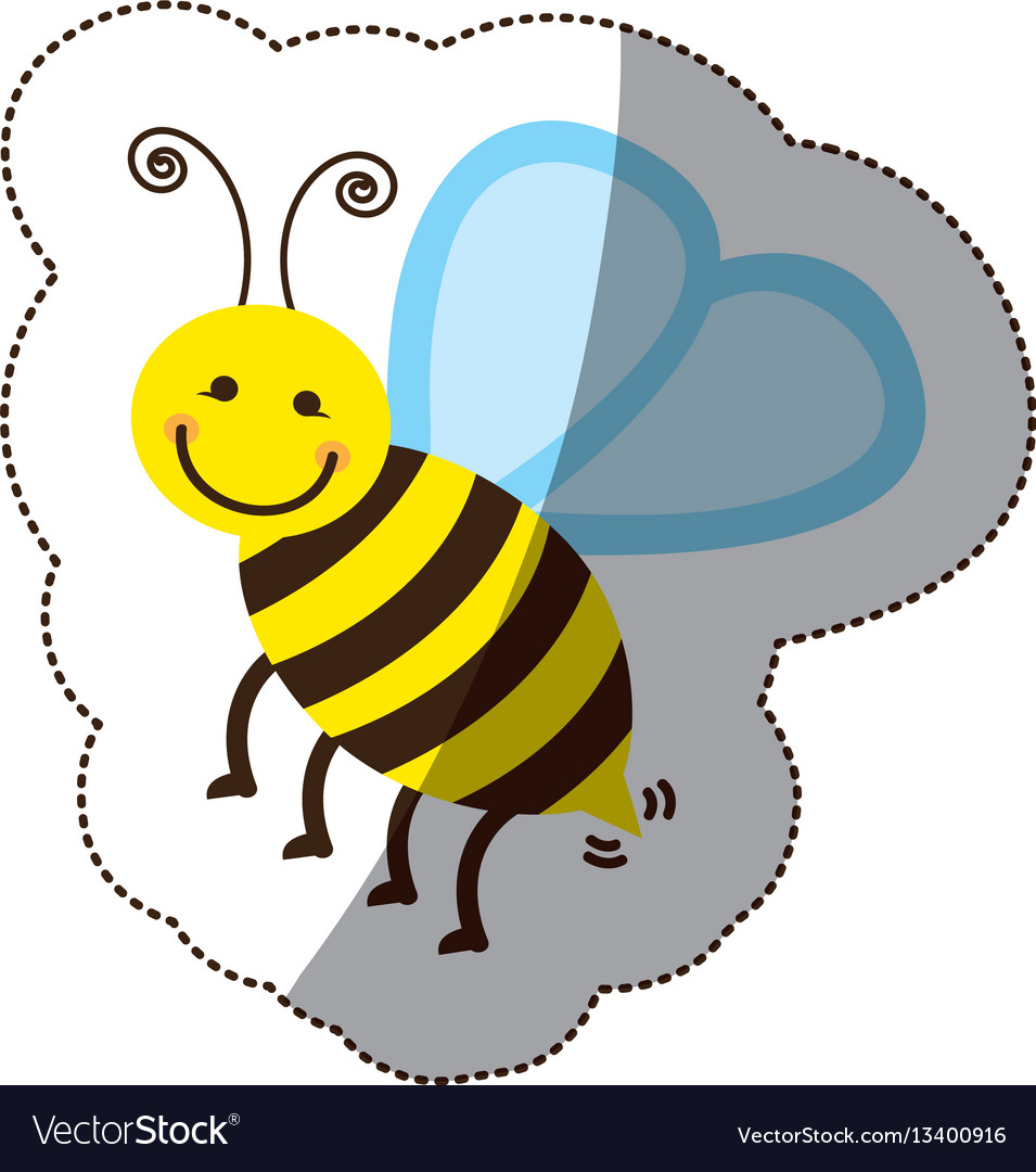 Color bee icon stock