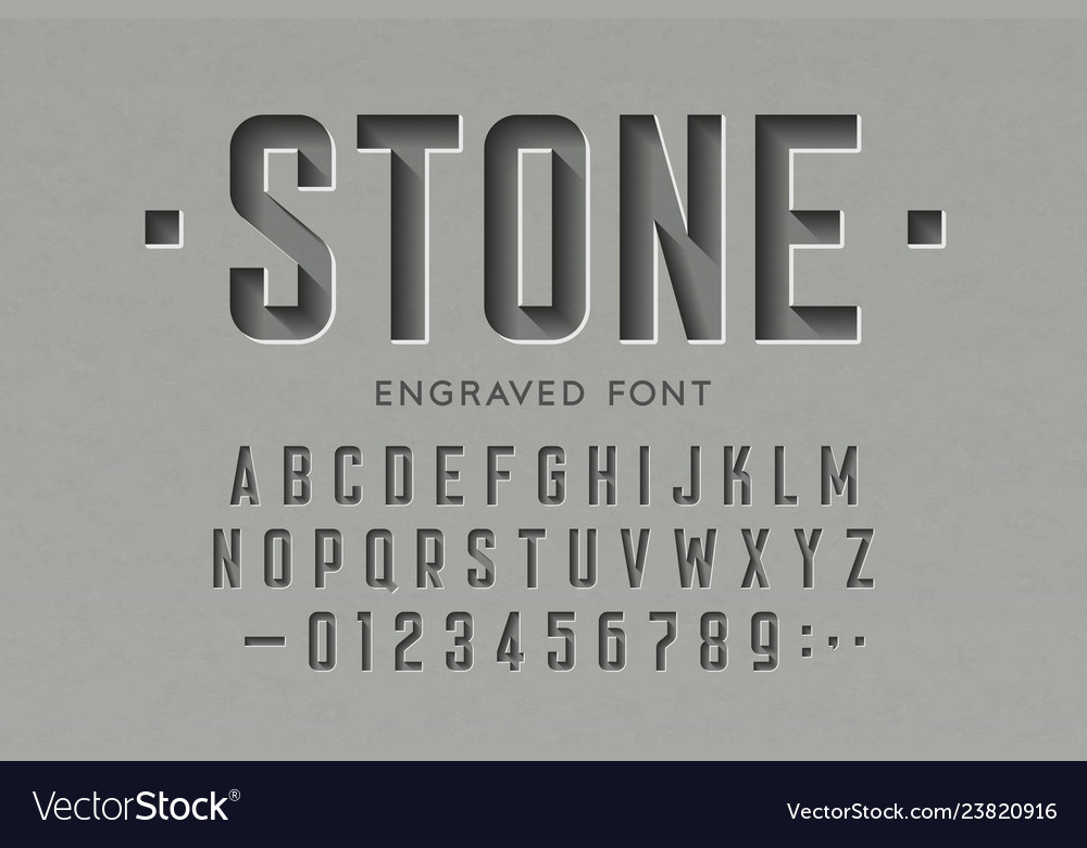 Engraved on stone font alphabet letters and