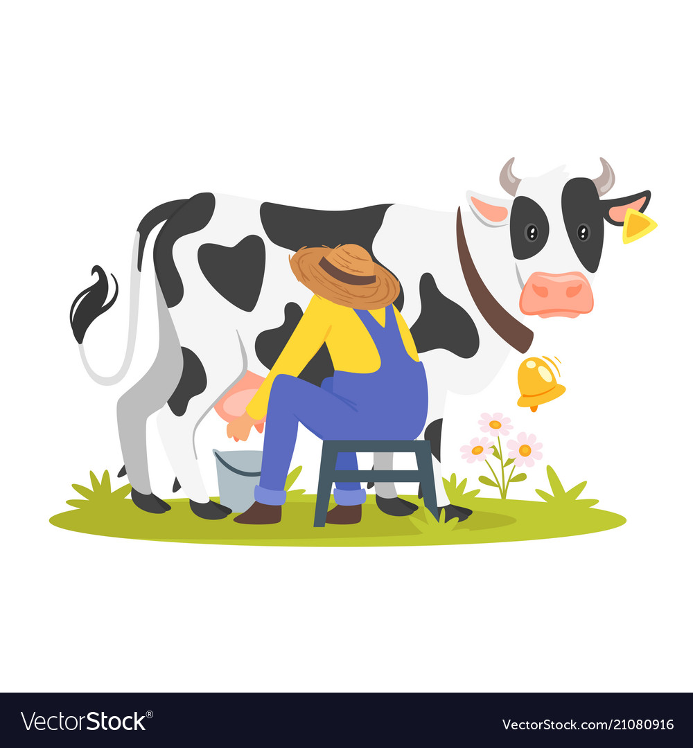 Farmer Milking A Cow Royalty Free Vector Image