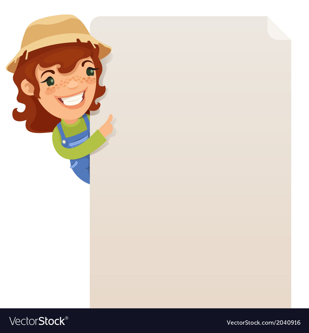 Female Farmer looking at blank poster