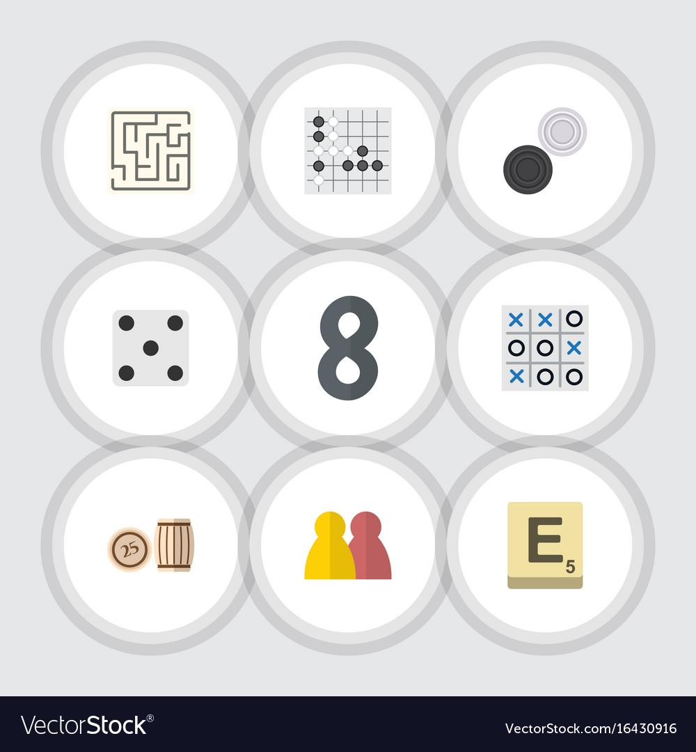 Flat icon games set of people mahjong lottery vector image