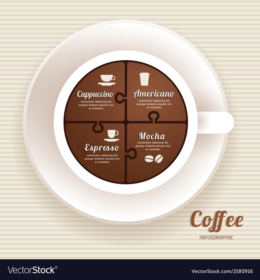 Infographic Template with Coffee Cup Jigsaw