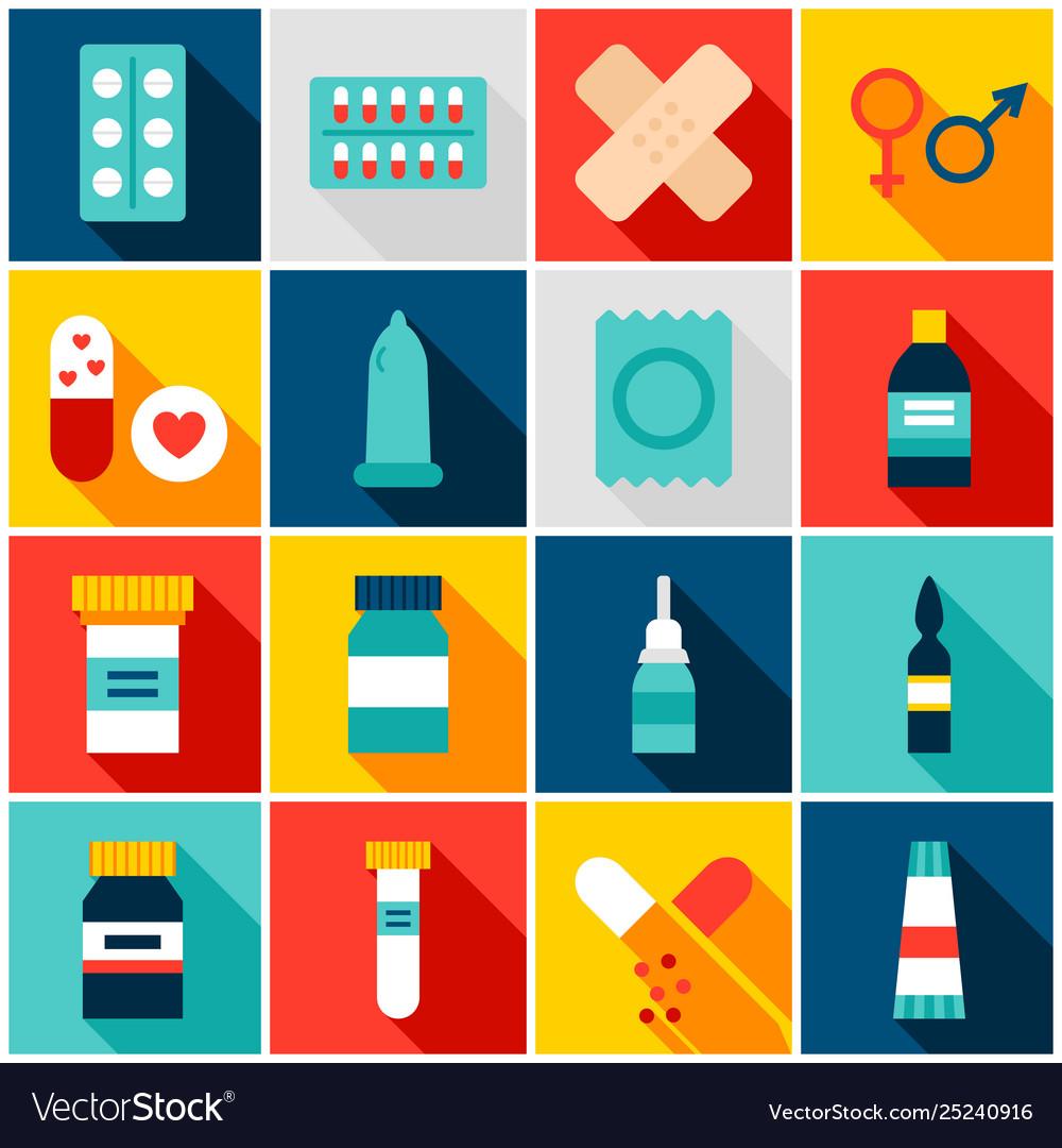 Medicine pharmacy colorful icons