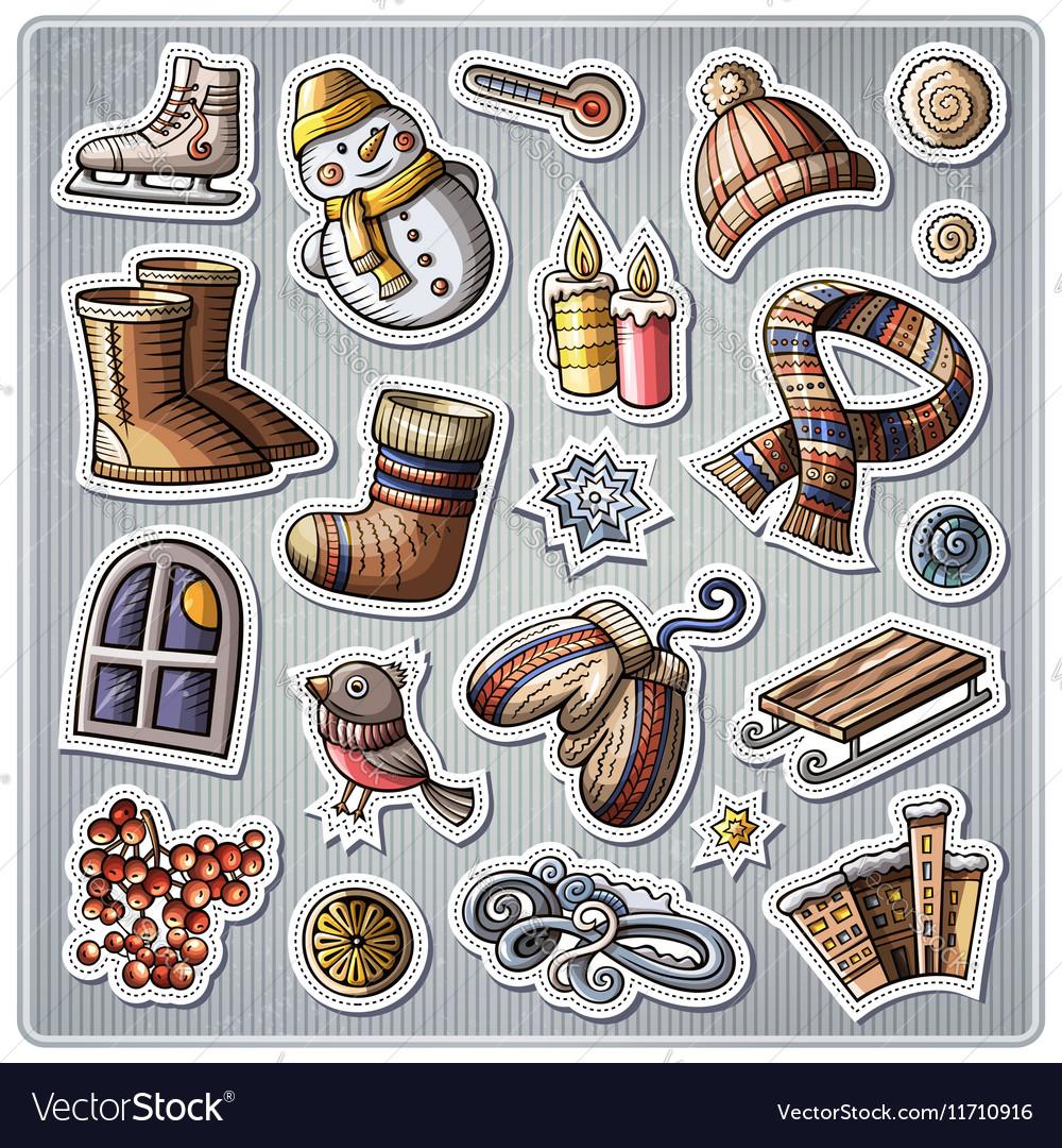 Set of Winter season cartoon stickers vector image