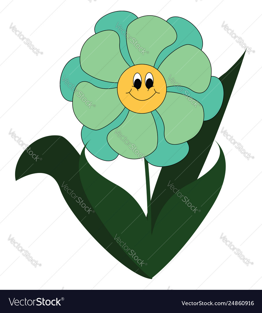 Simple Cartoon A Smiling Blue Flower Royalty Free Vector
