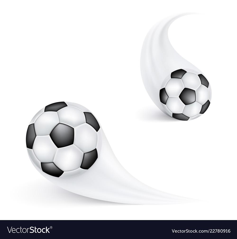 Soccer ball in flight football sign or emblem for