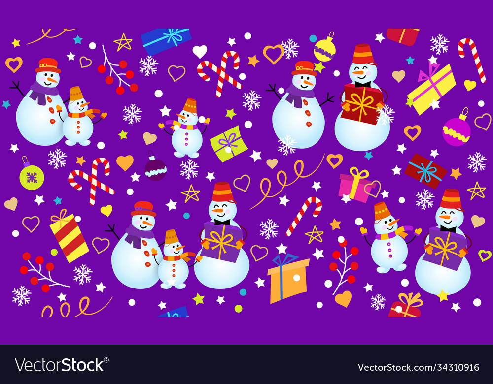 Winter pattern with snowmen snowflakes and gifts