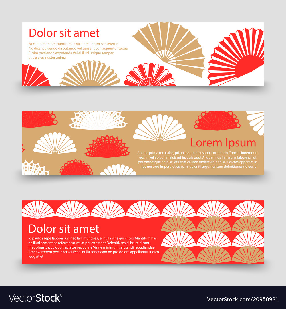 Asian style banner template with hand fans