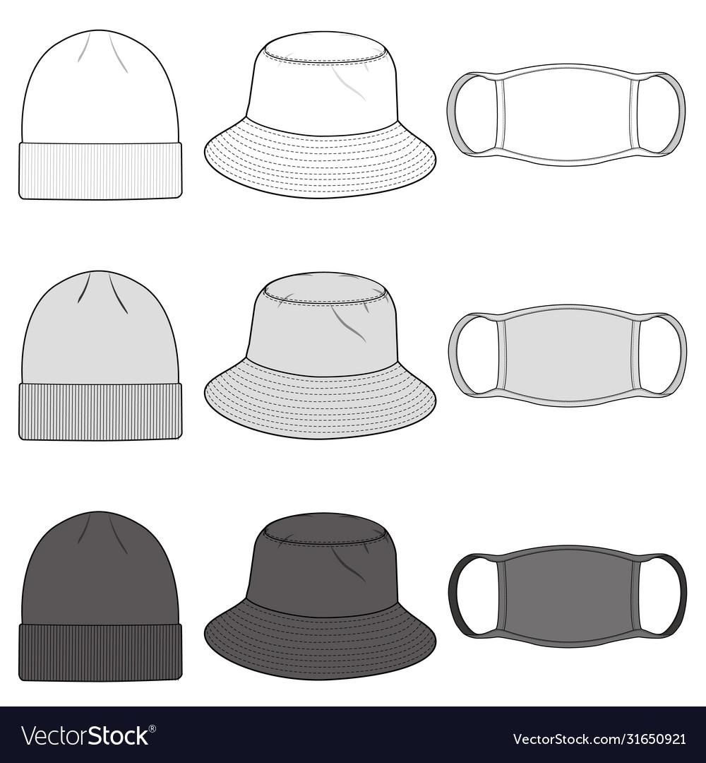 Bucket Hat Beanie Mask Fashion Flat Sketch Vector Image