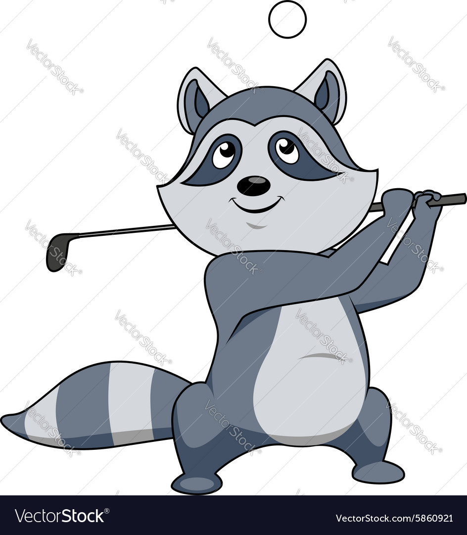 Cartoon funny little raccoon playing golf