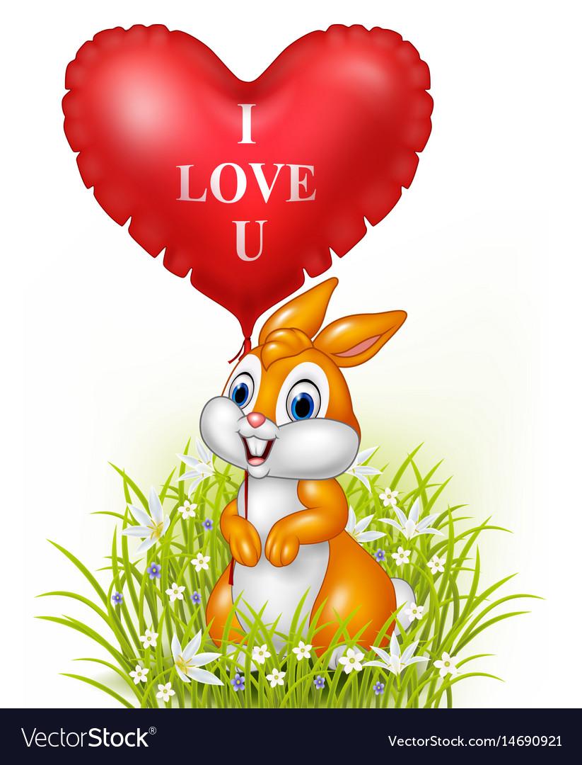 Cartoon rabbit holding red heart balloon