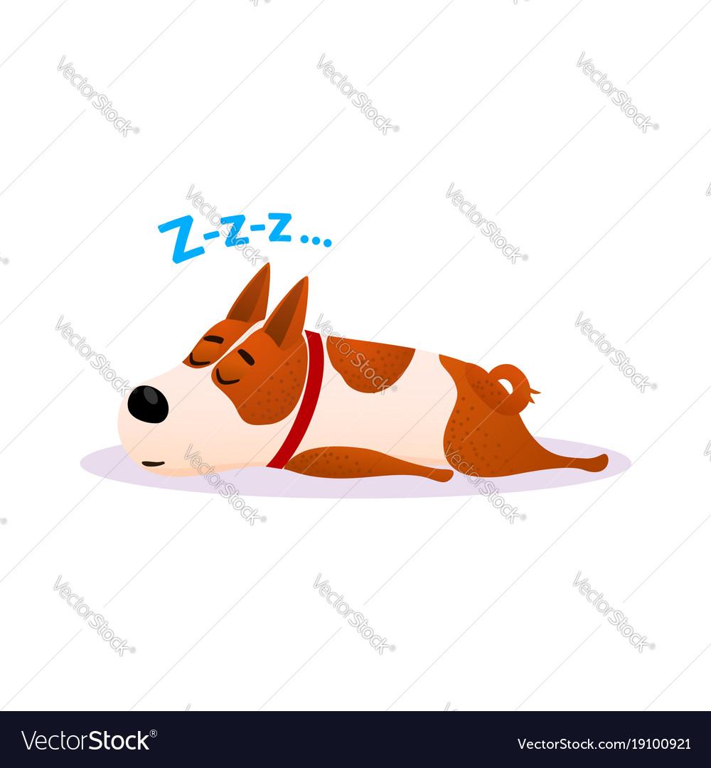 Cartoon sleeping dog portrait cute resting puppy