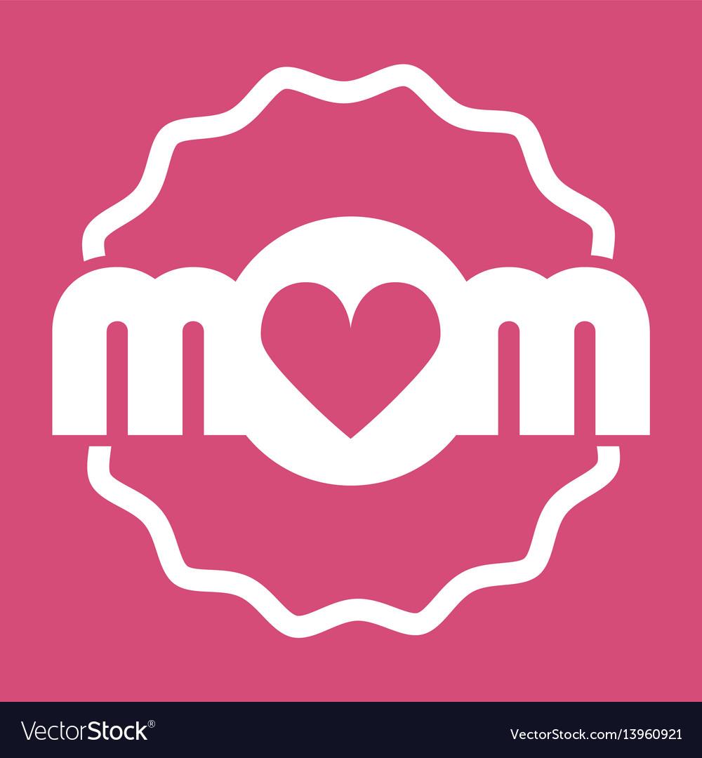 Colorful mom emblem design elements for