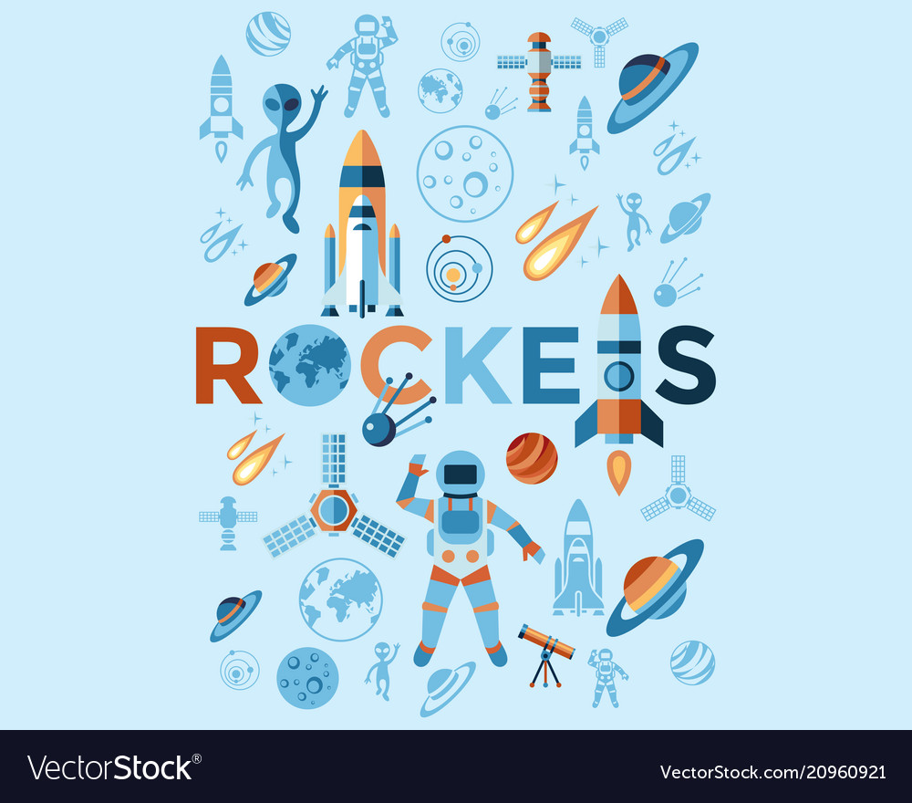 Digital line icons set space and rockets