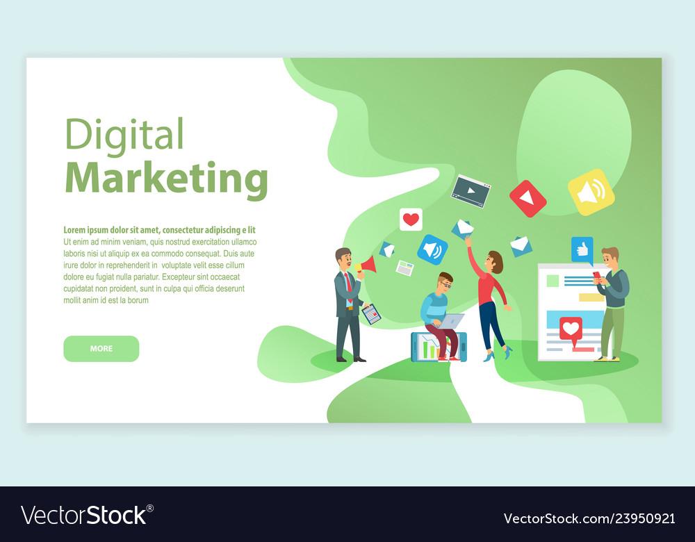 Digital marketing people working on brand name