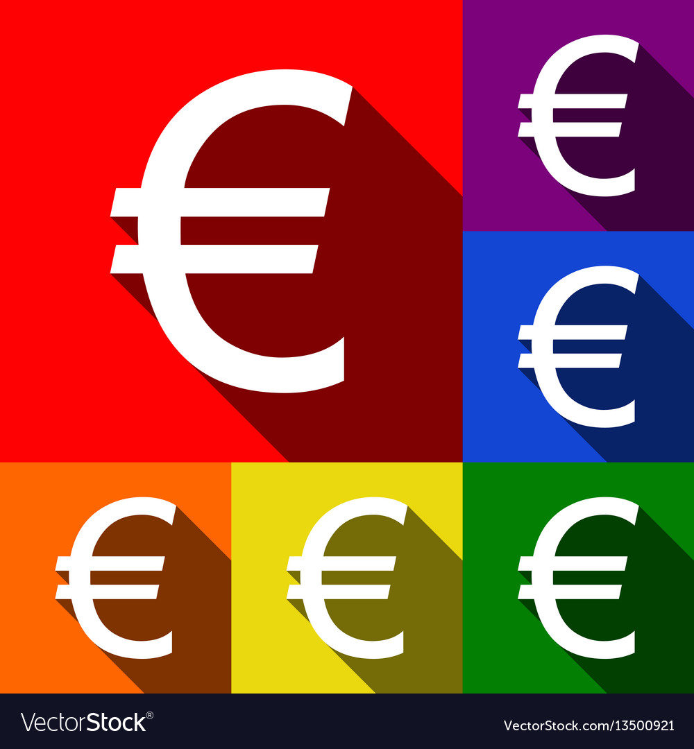 Euro sign set of icons with flat shadows