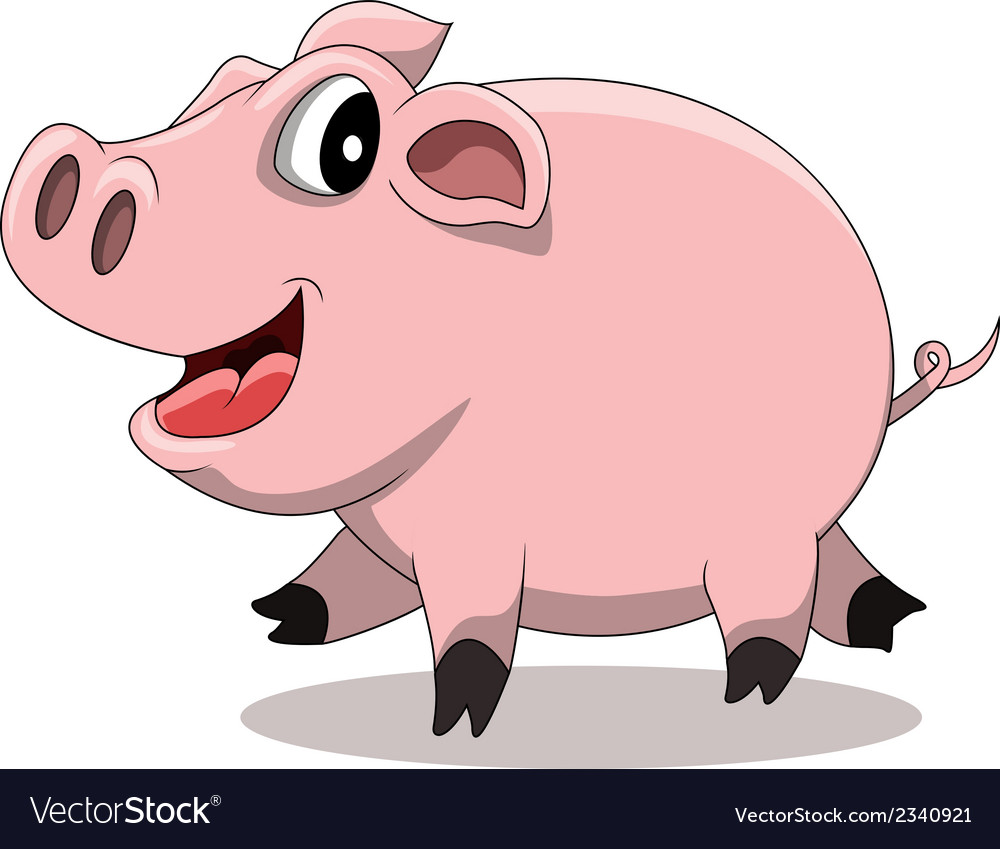 Fat Pig Cartoon Vector Image