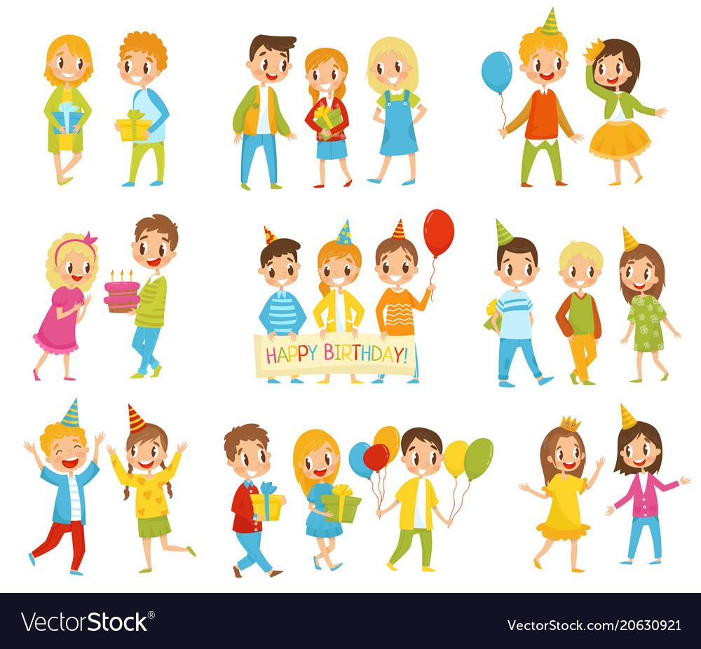Happy birthday kids set little boys and girls