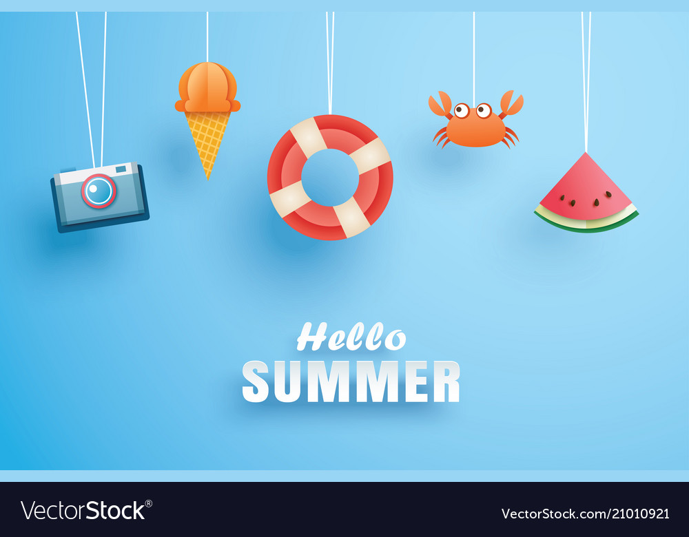 Hello summer with decoration origami hanging on