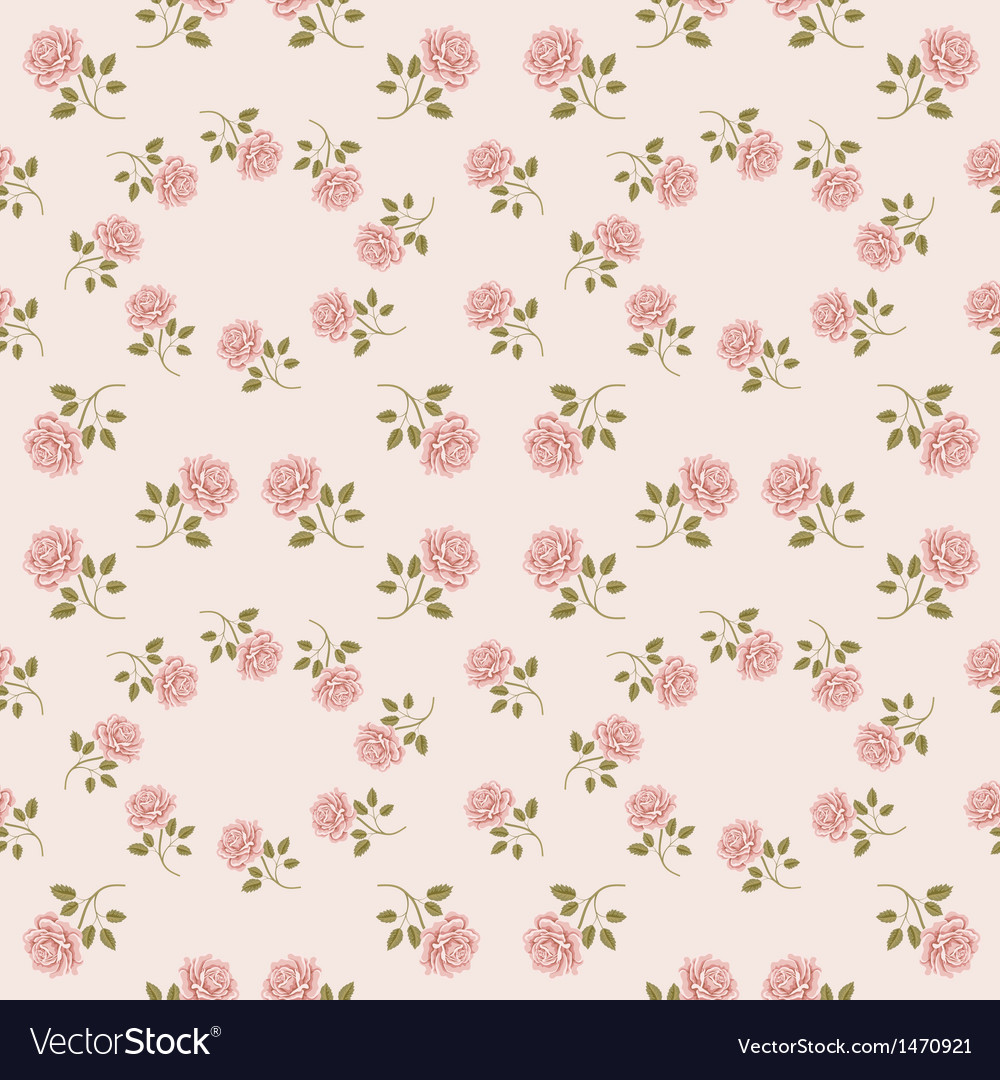 Pink Vintage Rose Pattern Seamless Royalty Free Vector Image
