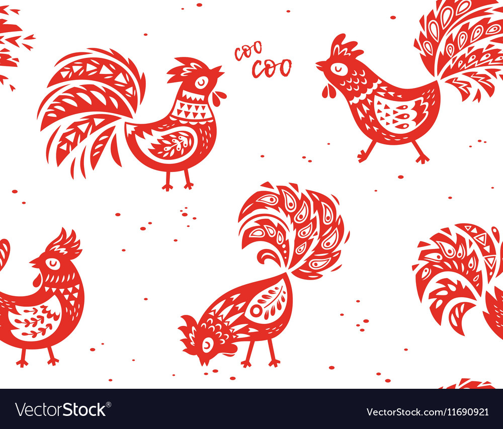 Seamless pattern rooster background